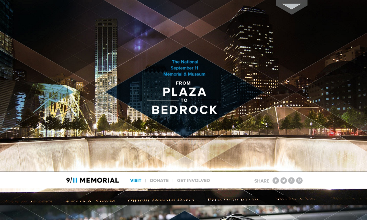 Screenshot of website for 9/11 Memorial & Museum