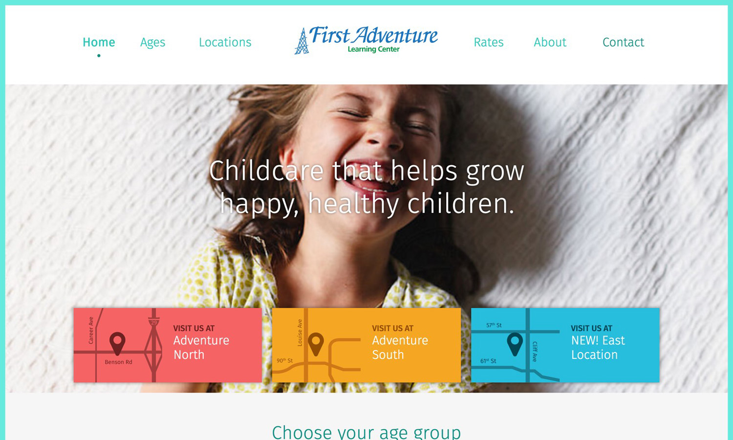 Screenshot of website for First Adventure Learning Center