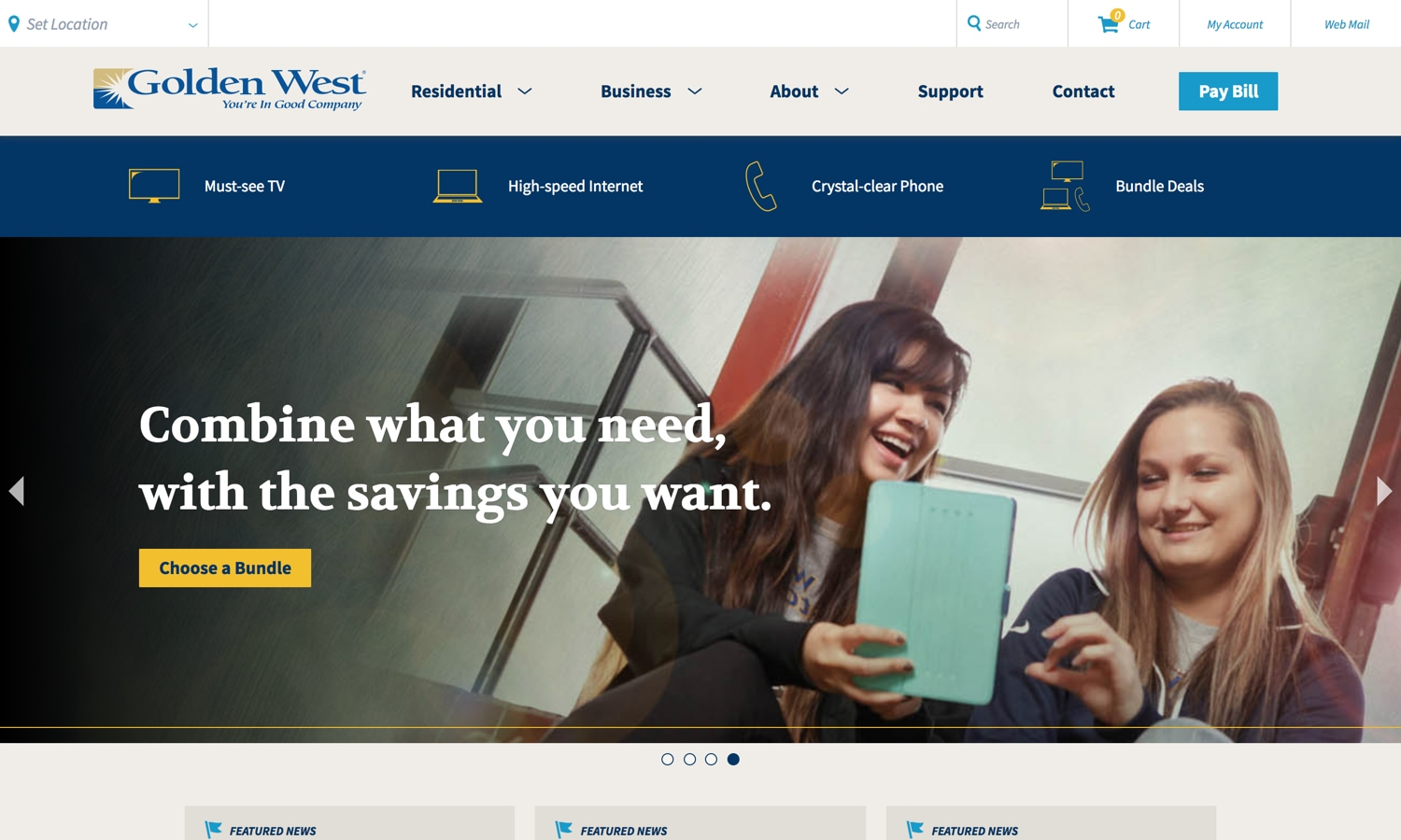 Screenshot of website for Golden West Communications