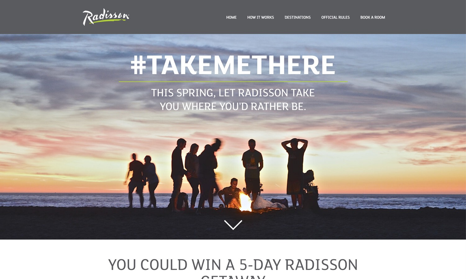 Screenshot of website for Radisson