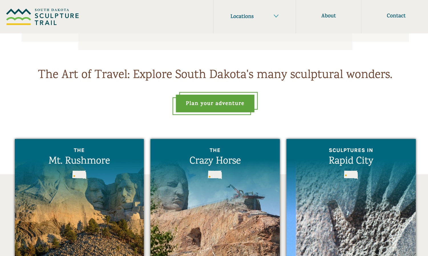 Screenshot of website for South Dakota Sculpture Trail