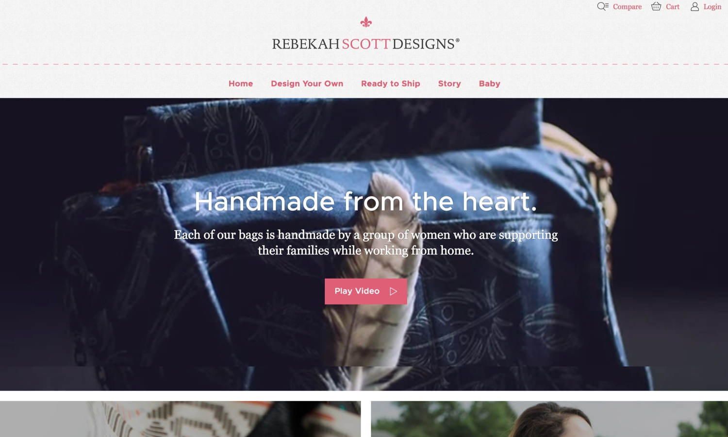 Screenshot of website for Rebekah Scott Designs